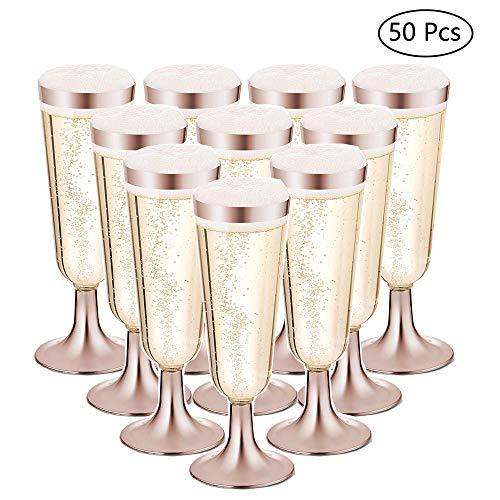 Nuptio 50 Flautas De Champán con Borde De Oro Rosa De Plástico - Cop