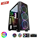 EMPIRE GAMING – Caja PC Gamer Diamond ARGB Torre Mediana ATX – Frontal Diamante Plexiglás y Pared Lateral de Vidrio Templado – 4 Ventiladores LED RGB direccionables 120 mm