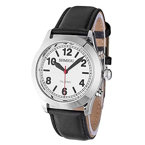 Reloj parlante plateado banda de cuero negro francés, unisex para ancianos...