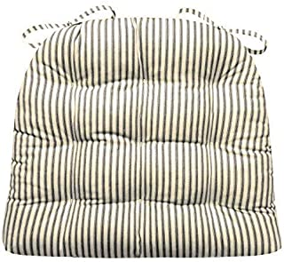 Barnett Home Decor Ticking Stripe Black Dining Chair Pad with Ties - Size Standard - Latex Foam Fill Cushion - Machine Washable, Reversible, Solid Color, 100% Cotton, Made in USA
