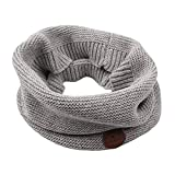 Winter Baby Boys Scarf Cotton Girls Neck Warmer Autumn Warm Knitted Scarves for Toddler Kids (Gray)
