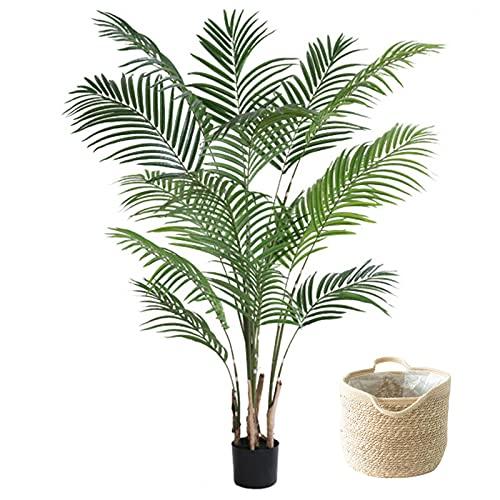 LANHA 140cm/160cm/200cm Kunstbaum Phoenix Palme, Gefälschte dekorative Pflanzen mit geflochtenem Korb Einfach zu säubern Falsche grüne Pflanze Tropischer Topf für Home Office Restaurant