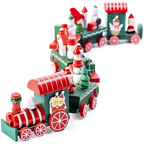 Trenino Legno Natalizio - Il Regalo Perfetto Come Giocattolo a Tema Natalizio, Con Mini Figure Di Babbo Natale E Regali a Bordo