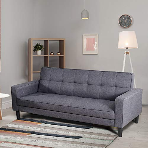 """GOOD & GRACIOUS Modern Sofa Bed Couch with Storage Function, Mid Century Sofa Bed Sleeper Chaise Lounge for Small Space Living Room Bedroom, Grey, 72.83""""x 33.86""""x 30.31"""""""