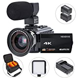 NESENNI 534KMWLB Video 4K Camcorder Ultra HD WiFi Digital Camera 48MP Touch Screen 16X Zoom Recorder IR Night Vision Microphone, Shoulder Bag
