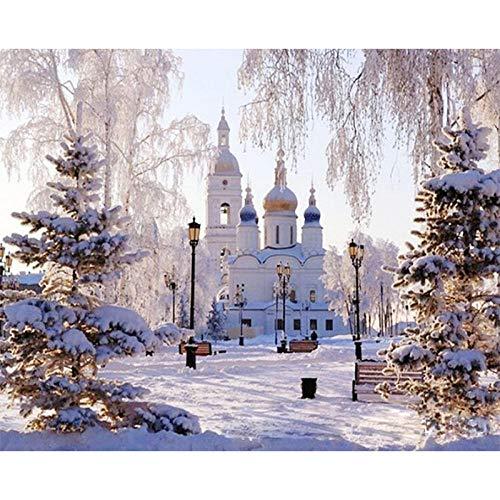 nanxiaotian Adult Digital Painting Suite Kinder DIY Malerei Familie Art Deco Bild Geschenk, 20X24 Zoll (Rahmenlos) Snow Castle