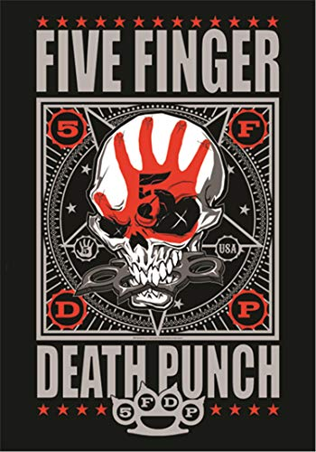 Heart Rock Bandiera Originale 5 Finger Death Punch Punchagram, Tessuto, Multicolore, 110x75x0.1 cm