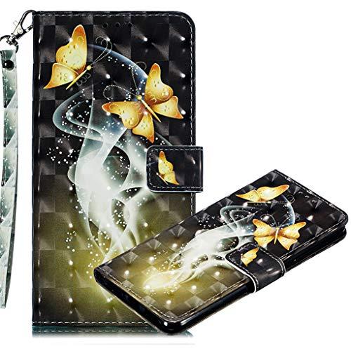 MRSTER Xiaomi Redmi 7A Handytasche, Leder Schutzhülle Brieftasche Hülle Flip Hülle 3D Muster Cover mit Kartenfach Magnet Tasche Handyhüllen für Xiaomi Redmi 7A. LL 3D Two Butterflies