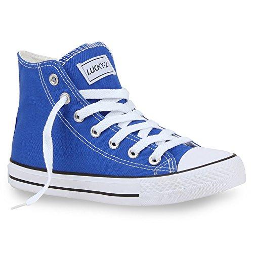 stiefelparadies Sportliche Damen SneakersStoff Camouflage Schnürer Sneaker High Neon Sport Schuhe 26851 Blau Ambler 41 Flandell