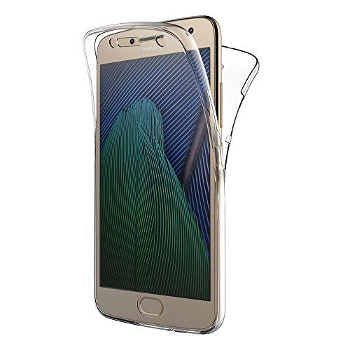 AICEK Moto G5 Plus Hülle, 360° Full Body Transparent Silikon Schutzhülle für Motorola Moto G5 Plus Case Crystal Clear Durchsichtige TPU Bumper Lenovo Moto G5 Plus Handyhülle (5,2 Zoll)