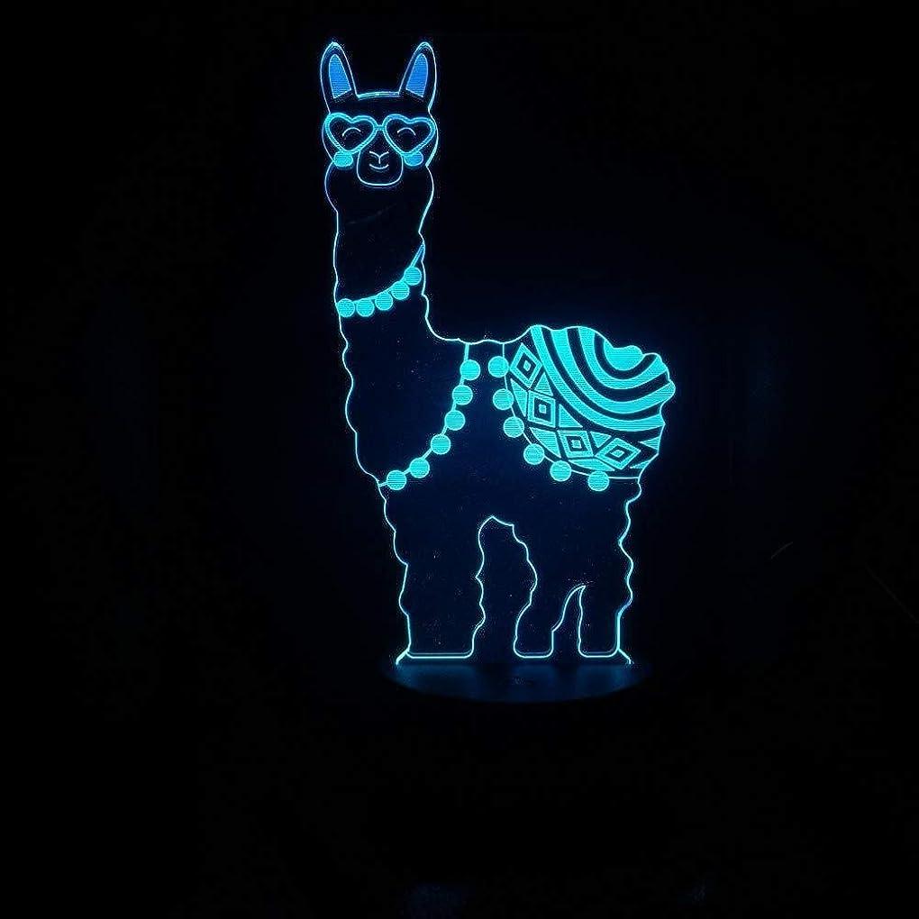 非アクティブ天国グレー3Dイリュージョン草泥馬アルパカLEDランプタッチセンサー7色のランプベッドルームベッドサイドアクリル装飾的なデスクランプキッズフェスティバル誕生日プレゼントのUSB充電
