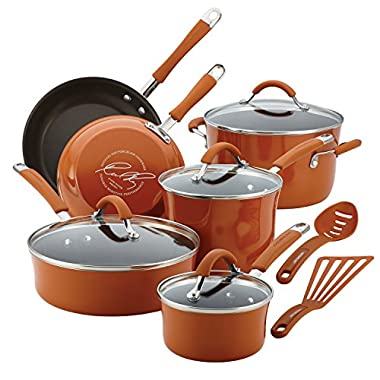 Rachael Ray Cucina Hard Porcelain Enamel Nonstick Cookware Set, 12-Piece, Pumpkin Orange