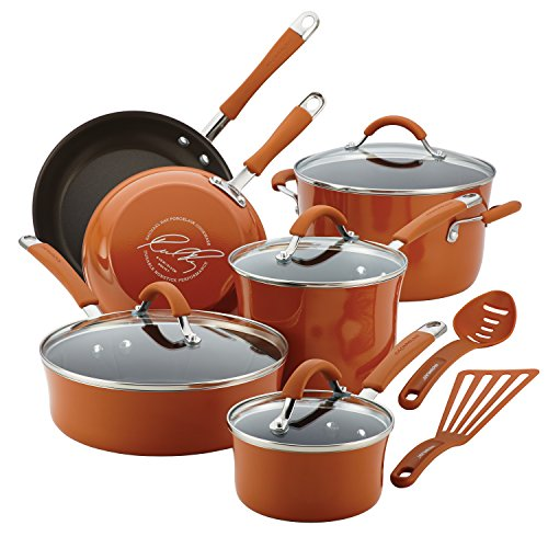 Rachael Ray Cucina Nonstick Cookware Pots and Pans Set, 12 Piece, Pumpkin Orange