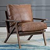 Mid Century Chair, Retro Upholstered Accent Armchair with Wood Frame and Faux Leahter Cushions, Large Leisure Slipper Chair for Living Room/Bedroom, Brown