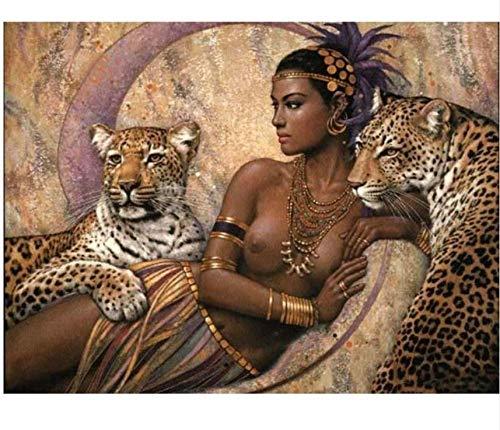 Qingdewan Puzzle 1000 Teile Holz Puzzle.Sexy Frau Und Leopard.Bestes Geschenk Für Kinder Oder Freunde, Home Art Deco-Malerei