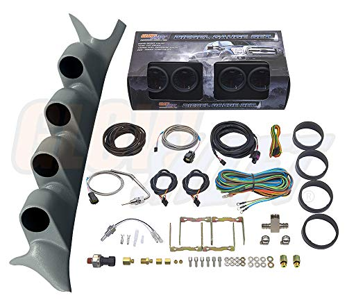 GlowShift Diesel Gauge Package for 1999-2007 Ford Super Duty F-250 F-350 Power Stroke - Tinted 7 Color 60 PSI Boost, 1500 F EGT, Transmission Temp & 100 PSI Fuel Pressure Gauges - Gray Quad Pillar Pod