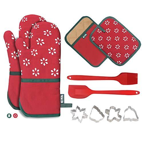 KIYA Ofenhandschuhe und Topflappen Weihnachtsset (10-Teilig), Baumwollen mit Anti-Rutsch Silikon Hitzebeständige bis zu 260°C, 1 Silikonspatel, 1 Silikonbürste und 4 Ausstechformen - Rot