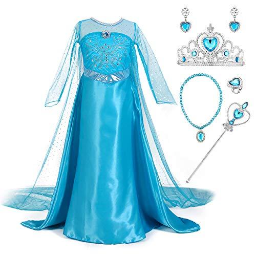 YOSICIL Prinzessin ELSA Kleid Mädchen Eiskönigin Kostüm mit Schleppe Frozen Prinzessinen Kleid Langarm Blau Kleider Karneval Verkleidung Weihnachten Fasching Halloween Fest ELSA Kostüm Cosplay