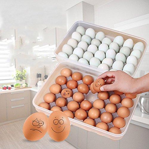 shuohu bandeja de huevos para frigorífico, 34huevos bandeja soporte con tapa, portátil a prueba de golpes cubierta huevos recipiente