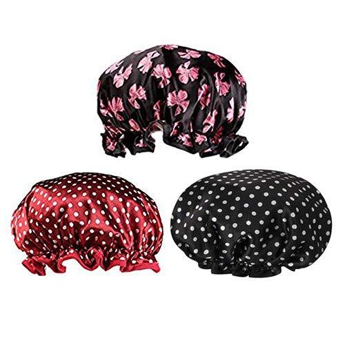 Duschhaube Damen,3er Pack Doppellagige Wasserdichte Badekappen Wiederverwendbare Badehaube mit Gummiband Bad-Hut für Mädchen Spa Salon Badzubehör