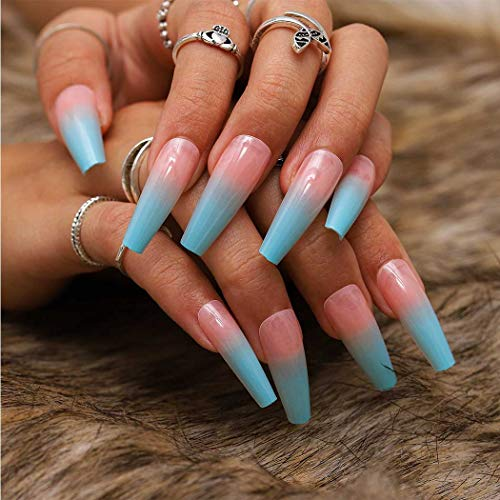 Dreamyn French Press on Nails Coffin Extra Long Fake Nails Glossy Ballerina False Nails Full Cover for Women and Girls 24pcs (Ombre)
