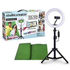 "Create your own videos like a pro for TikTok, YouTube, Instagram, and more! Perfect for hands free selfies or videos like tutorials, music videos, and reviews Make videos with the best lighting using the included 8"" LED ring light with 3 different co..."