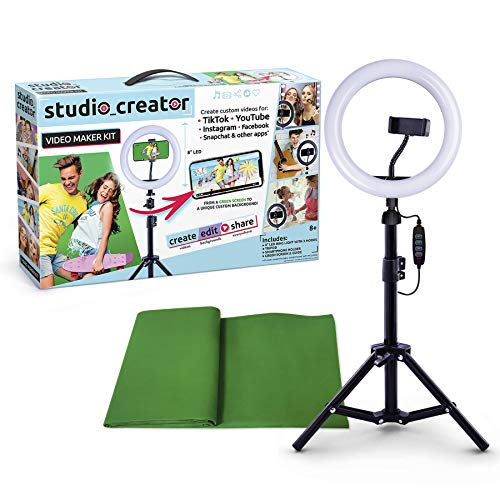 Canal Toys So DIY TikTok Instagram YouTube Ring Light with Green Screen and Phone Mount Tripod. Studio Creator Influencer Video Creator Kit