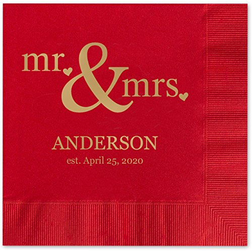 Mr & Mrs Hearts Personalized Beverage Cocktail Napkins - 100 Custom Printed Red Paper Napkins with choice of foil