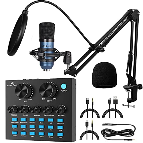 V8 Sound Card REMALL Sound Card for Microphone, Podcast Equipment Bundle, Sound Board for Streaming, Audio Mixer for Streaming, Recording, Gaming, Broadcast, Condenser Microphone kit for iphone PC