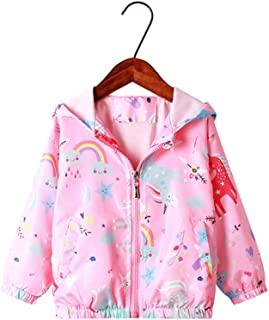 TEDDY Baby Girls Jackets with Hood Spring Outwear Coat Zipper Unicorn for 3-8 Years Baby Toddler