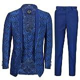 Xposed Uomo 3 Pezzi Blu Jacquard Vestito su Misura in Formafloreale Blu di Paisley Stampa ...