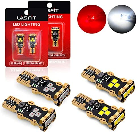 LASFIT 921 912 LED Cargo Truck Light White Light and Third Brake Bulbs Red Light Combo 4 bulbs product image