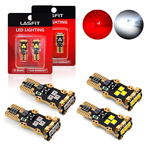 LASFIT 921 912 LED Cargo Truck Light White Light and Third Brake Bulbs Red Light Combo (4 bulbs)