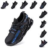 Zapatos de Seguridad Hombre Mujer Zapatillas de Trabajo con Punta de Acero Ligeros Calzado de Industrial y Deportivos Sneaker Negro Azul Gris Número 36-48 EU Azul 43