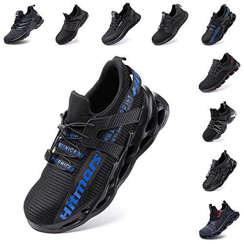Zapatos de Seguridad Hombre Mujer Zapatillas de Trabajo con Punta de Acero Ligeros Calzado de Industrial y Deportivos Sneaker Negro Azul Gris Número 36-48 EU Azul 43 ✅