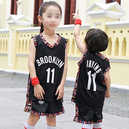 YZQ Trajes De Baloncesto para Hombre, Brooklyn Nets # 11 Kyrie Irving NBA Summer Basketball Jerseys Sueltas Camisetas Chalecos Casual Deportes Tops + Shorts,Negro,M(Child) 125~135CM