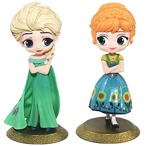 2pcs Princesa congelada Cake Topper Mini Juego de Figuras Niños Mini Juguetes Baby Shower Fiesta de cumpleaños Pastel Decoración Suministros 16cm, Anna, Elsa