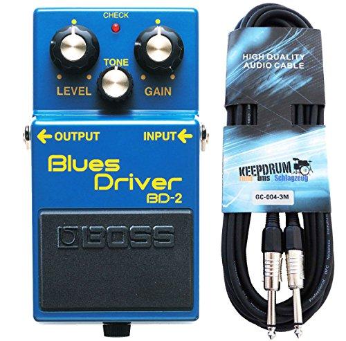 Boss BD-2 Blues Driver Effektgerät für Gitarre + keepdrum Gitarren-Kabel 3m
