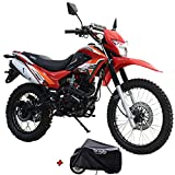 X-Pro 2021 Version Hawk 250 Dirt Bike Motorcycle Bike Dirt Bike Enduro Street Bike Motorcycle Bike with Motorcycle Cover(Red)