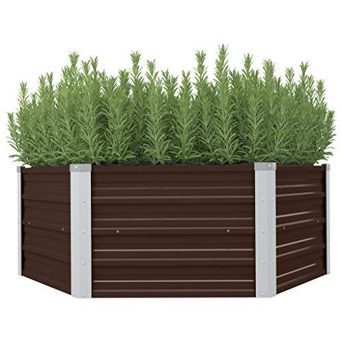 Tidyard Huerto Urbano,Mesa de Cultivo de Acero galvanizado marrón 129x129x46 cm