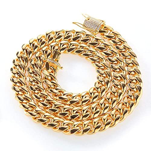 AMOZ Cadena de Eslabones Cubanos de Miami para Hombre, Oro de 18 Quilates, 12 14 Mm, Collar de Acero Inoxidable con Gargantilla de Cadena de Diamantes Cz, 14 Mm * 24 Pulgadas,14 Mm * 30 Pulgadas