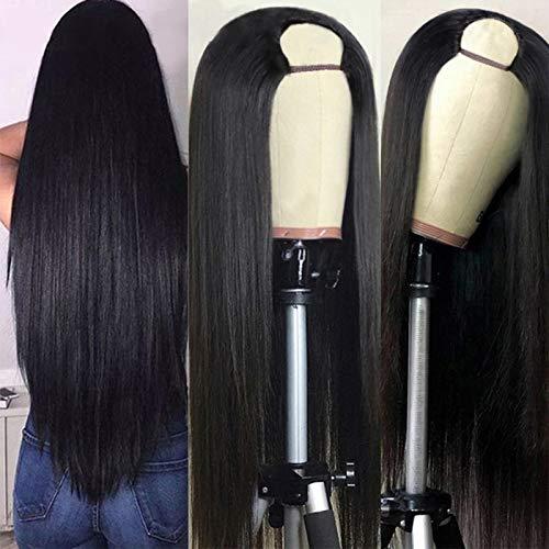 saer Geschickte gerade Echthaarperücken für Schwarze Frauen Peruanische Haarperücken Günstige U-Teil Perücke Glueless Remy Echthaarperücken Natürliche Farbe