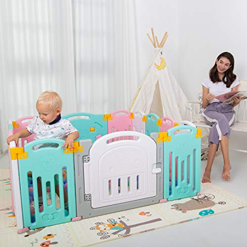 Uanlauo hopfällbar babylekhage säkerhetslekgård för småbarn, aktivitetscenter för barn inomhus eller utomhus (14 paneler multi)