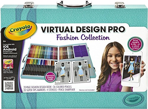 Crayola Virtual Design Pro - Fashion Collection - Budding designers have everything they need to begin creating their own unique fashions and virtual fashion show - comes with a 20-page book with fashion templates, colored pencils, markers, stencils, and pencil sharpener, Free App Included!