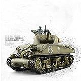 M4A3 Sherman Tank Model Tanque de control remoto Metal Tracción en las cuatro ruedas Vehículo todoterreno Carga eléctrica Battle Boy Juguetes Regalos de coche para niños mayores de 12 años (Color: Met