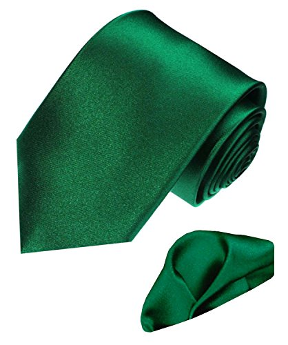 Lorenzo Cana - Marken 2 er Set aus 100{f64fefd05ec9bb56447a487c615833e6124123211cbf8f815daeedbbf7920c94} Seide - Krawatte und Einstecktuch dunkelgrün Satinseide - 8449701