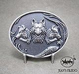 Napolo Cinturon de Hebilla Western Vintage Buckle Hombre Lobos Azul Plata