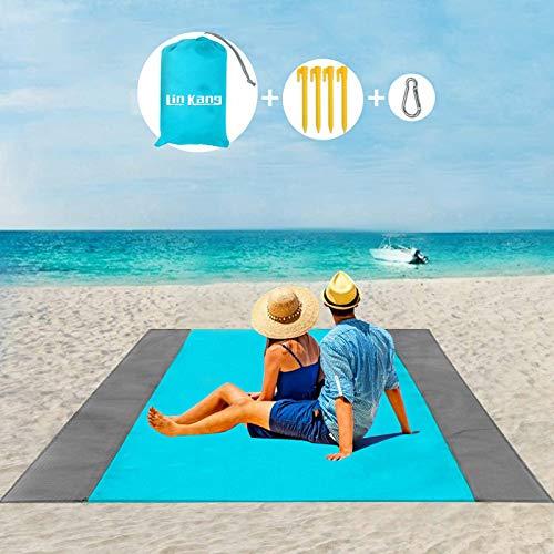LIN KANG Picknickdecke 200 x 210 cm Stranddecke Wasserdicht,Leichte Camping Regenplane,Tragbare Camingmatte,Leichte Strandmatte eignet Sich für Strand, Camping, Picknick (200 * 210cm, Blau)