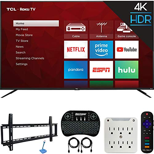 TCL 75S425 75-inch 4-Series 4K Ultra HD Roku Smart TV (2019 Model) Bundle with 37-70-inch Low Profile Wall Mount Kit, Deco Gear Wireless Keyboard and 6-Outlet Surge Adapter with Night Light