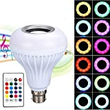 12W Led bulb, 7W white light and 5W of muticolor light Smart Speaker Bulb- 13 Color Choices: Color changing LED bulb with 12 colourful lights and 5000K daylight white light, and 3 color models: Flash/Strobe/Fade. And this bulb is a Wireless enabled, ...